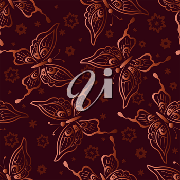 Seamless Background, Tile Pattern with Butterflies and Flowers. Vector