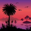 Tropical sea landscape, black silhouettes islands with palm trees and flowers, ship and birds gulls. Eps10, contains transparencies. Vector