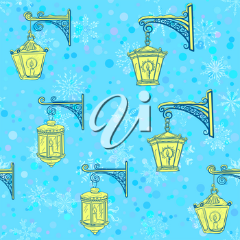 Seamless Pattern, Vintage Street Luminescent Lanterns Hanging on a Decorative Brackets, Contours on Tile Blue Background with White Snowflakes. Vector
