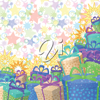 Holiday background with a pattern of festive gift boxes and stars. Eps10, contains transparencies. Vector