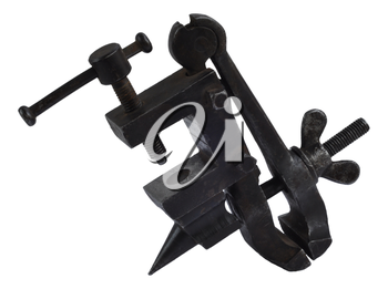 Isolated on white tool, little vice table made in the USSR in 1950th
