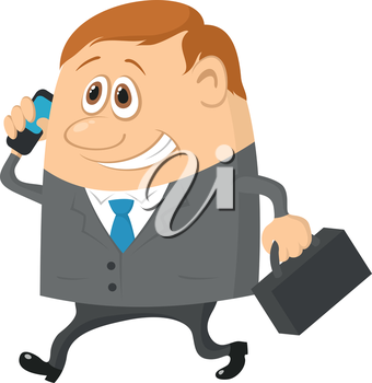 Businessman with a suitcase, happy smiling and running funny cartoon character. Vector