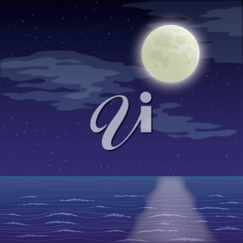 Seascape landscape, dark night sky with stars and sea. Eps10, contains transparencies. Vector