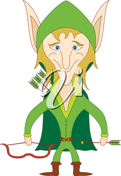 Elf archer standing with bow and arrows and smiling, funny comic cartoon character. Vector