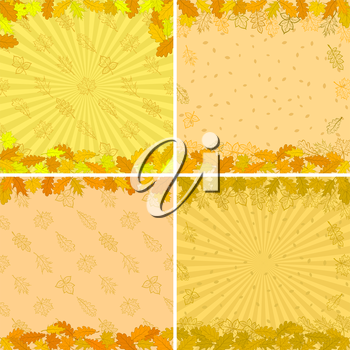 Autumn backgrounds set with various leaves brown, orange and yellow. Vector