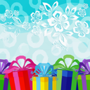 Holiday Low Poly Background with Gift Colorful Boxes and Abstract Pattern with Flowers, Leafs and Rings. Vector