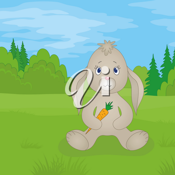 Rabbit siting on a meadow in summer forest and holding carrot in paws. Vector