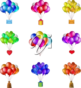 Set of balloons, colorful bunches flying with various objects: holiday mail, gift box, valentine heart, bag of money. Vector