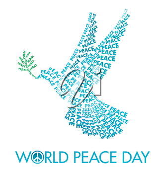 International Day of Peace Poster Templates with Dove of letters on a white background