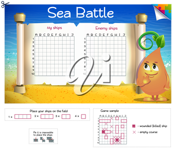Sea Battle. Board game. Form for the game Battleship.