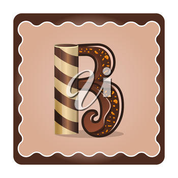 Cards for children for learning the alphabet. Letter b as chocolate, in the form of candies and cakes . Vector Illustration