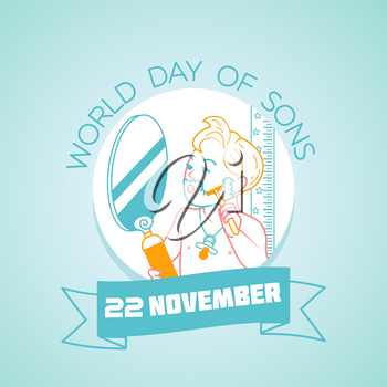 Calendar for each day on november 20. Greeting card. Holiday -  world day of sons. Icon in the linear style