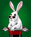 Illustration of rabbit in magic hat with playing cards. Illustration in cartoon style.