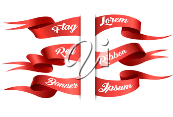 Red ribbons horizontal banners set. Vector illustration.