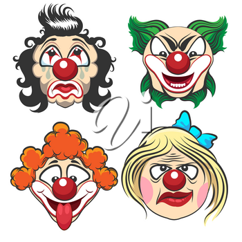 Set of different circus clown faces. Fun and creepy clowns. Vector Illustration.
