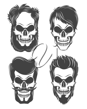 Set of stylized human skulls with mustaches, beards and different hairstyles. Vector Illustration.
