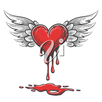 Winged bleeding heart emblem in cartoon style. Valentines Day Vector Illustration