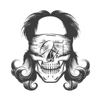 Vintage Tattoo of skull with blindfold. Vector illustration