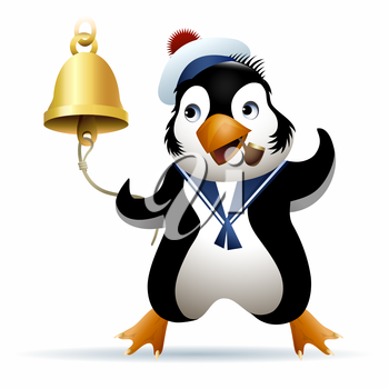 Seaman penguin in sailor cap rings a noon bell. Illustration drawn in cartoon style.