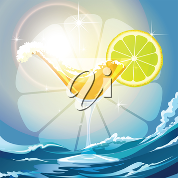 Illustration of drink wave and lime slice in a cocktail glass against wavy background