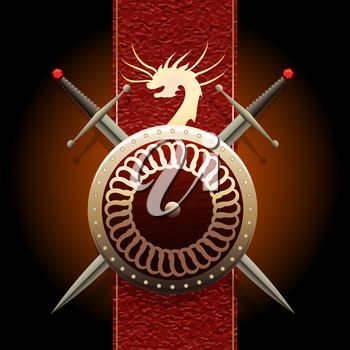 Shield woth swords against medieval banner flag with symbol of a dragon