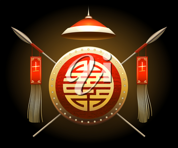 Medieval Asian Warrior Shield and Spears with flags. Chinese hieroglyph that means warrior. Vector illustration.