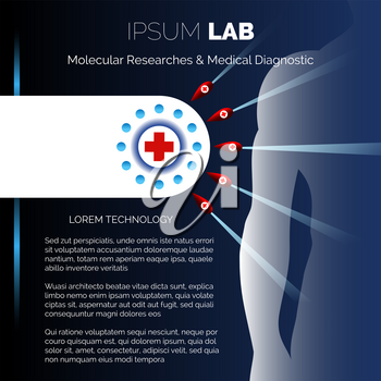 Medical research center or laboratory booklet design template. Vector illustration.