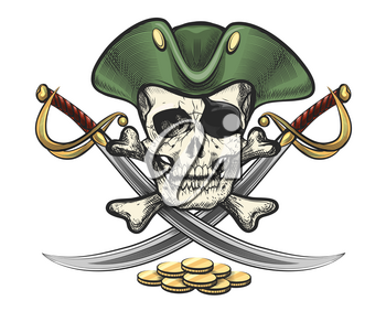 Hand Drawn Pirate Skull and bones with sabres. Vector illustration in tattoo style.