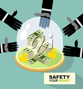 hands are drawn to money. Protection against thieves. business illustration
