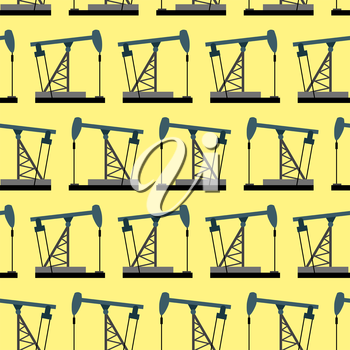 Oil rig seamless pattern. Oil pump pumps oil vector background.