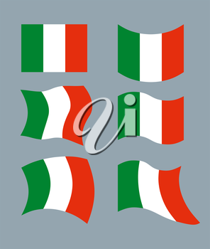 Italy Flag. Developing Italian flag. Set various flags of Italian State. Patriotic emblem of State.