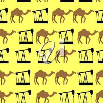 Desert camels and oil pumps seamless pattern. Vector background for UAE.