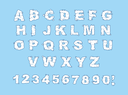 Cloud alphabet. Cloud letters and numbers. White cloud font. Blue sky background. Set of letters and numbers