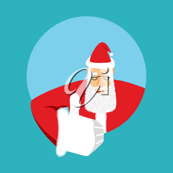 Santa Claus thumbs up. Gesture of hand is all right. Success of Christmas. Good luck in new year. Xmas template
