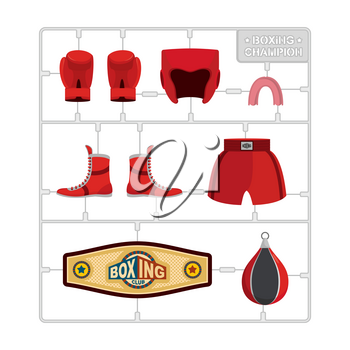 Boxing set. Collection champion. Gloves and protective helmet. Sports shorts and cap. punching bag and winner belt. Plastic Model kit