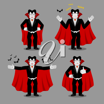 Dracula set of movements. Vampire collection of poses. ghoul expression of emotion. Cheerful and surprised. Angry and happy
