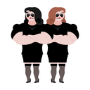 Female Bodyguard couple. Strong Woman guard at  nightclub. Black suit and hands-free. Lady Security on white background. protection and professional teamwork
