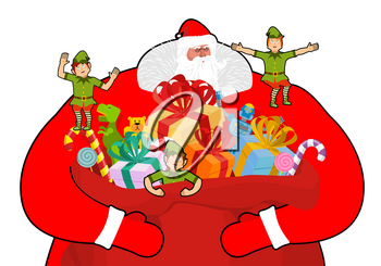 Santa Claus with big sack of gifts.  Christmas elf helpers. Red bag with toys and sweets. Character for new year. Postcard and poster for winter holiday. Fairy old man with large white beard and littl
