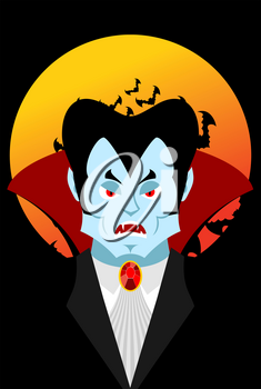 Count Dracula and moon. Evil vampire. Aggressive ghoul. Poster for terrible Halloween.