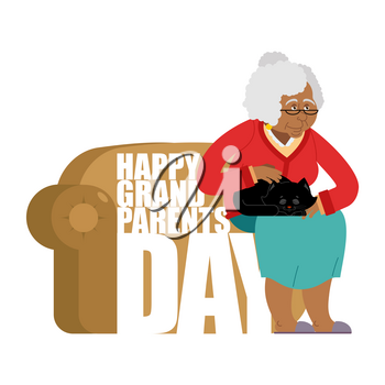 Grandparents Day. Day of grandmother and grandfather. grandma with cat. Holiday of an elderly person. Pet and old man