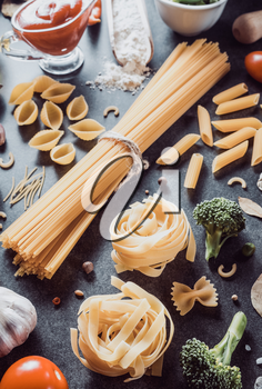 pasta and food ingredient on dark background