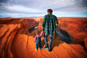 dad with daughter. Famous Horseshoe Bend of the Colorado River in northern Arizona