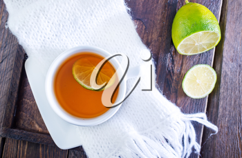 fresh tea with lemon in the cup