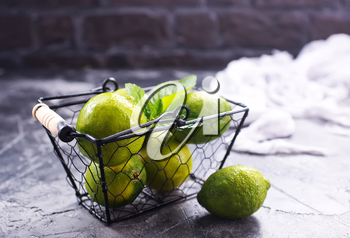 fresh limes on the table,stock photo