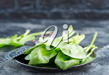 fresh spinach on plate and on a table
