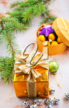 christmas decoration and gifts on a table