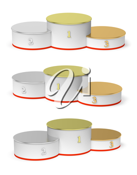 Sports winning and championship and competition success symbol - round sports pedestal, white winners podium with empty golden first, silver second and bronze third places, isolated on white, 3d illustration set