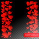 Vector confetti falling from red hearts on the transparent background. Love concept card background for Valentine's day