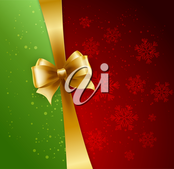 Christmas Background. Vector Design. Gold bow in red and green background