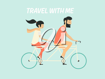 Royalty Free Clipart Image of a Couple on a Bicycle Built for Two
